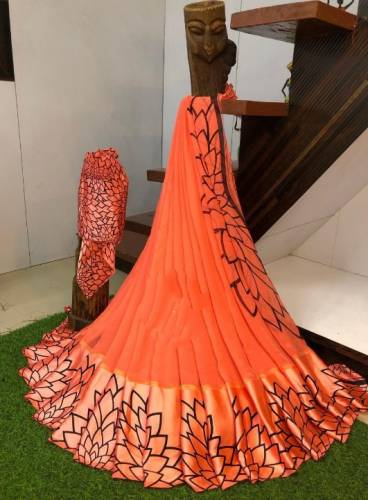 Classic Orange Sartin Patta Border Digital Printed Fancy Saree Design
