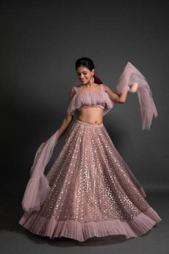 Beautiful Baby Pink Net Embroidered Work Lehenga Choli Design Online
