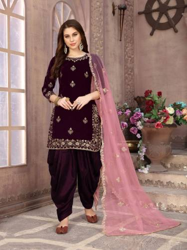 Party Wear Wine Color Velvet Embroidered Work Salwar Suit Design Online