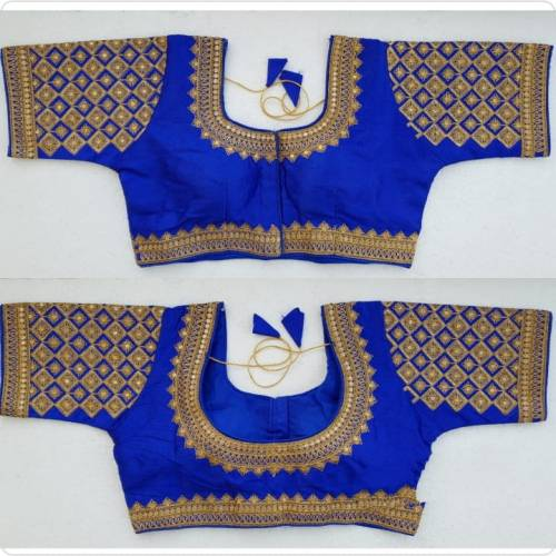 Delightful Royal Blue Silk Zari Thread Readymade Blouse Design Online