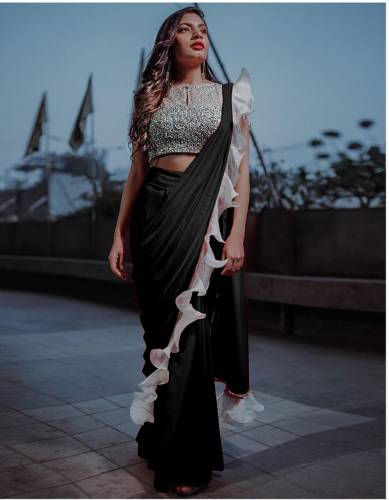 Lovely Black Silk With Ruffle & Sequence Lace Saree Design Online