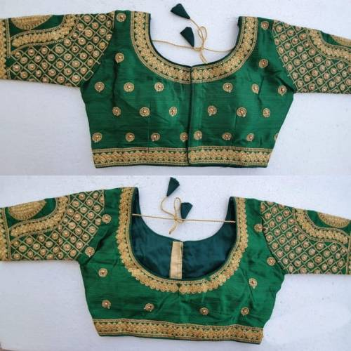 Dark Green Malbari Silk Hand Stone Readymade Blouse Design Online