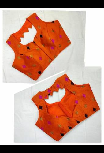Lovely Orange Meenakani Jacquard Readymade Blouse For Function