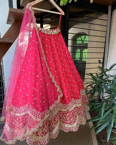 Fabulous Pink Georgette With Embroidered Work Lehenga Choli
