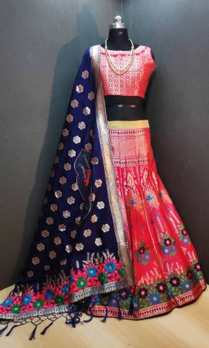 Beautiful Red Banarasi Weaving Padded Blouse Lehenga Choli