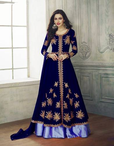 Atrtistic Blue Color Georgette Embroidered Semi Stitched Gown