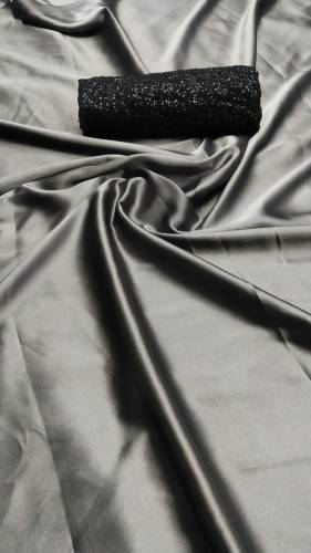 Beautiful Grey Satin Silk Saree With Sequence Work Blouse