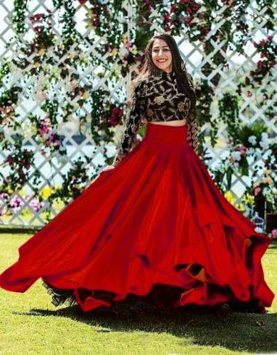 Amazing Red Color Taffeta Silk Two Layer Embroidered Work Festival Wear Lehenga Choli