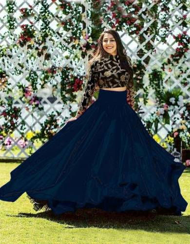 Flaunt Navy Blue Color Wedding Wear Taffeta Silk Embroidered Work Fancy Lehenga Choli