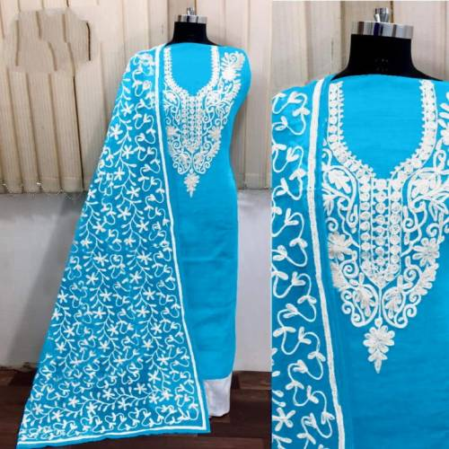 Amazing Sky Blue Silk With Aari Work Salwar Suit For Women