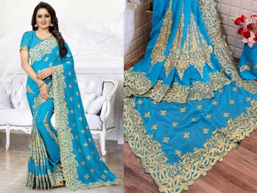 Unique Firoz Georgette With Embroidered Work Saree For Women
