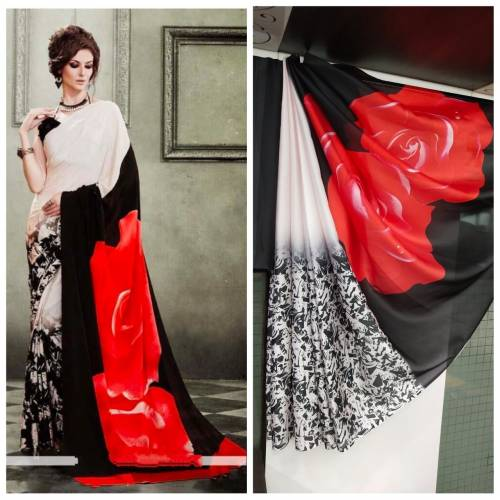 Beautiful Black & White Printed Satin Silk Fancy Saree For Women