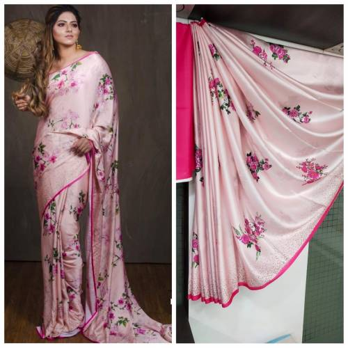 Beautiful Baby Pink Satin Silk Printed Designer Saree For Women