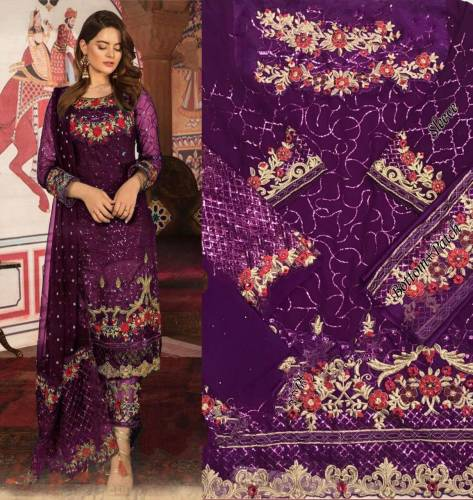Party Wear Wine Georgette With Embroidered Work Salwar Suit
