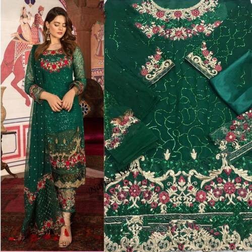 Glorious Dark Green Georgette Embroidered Work Fancy Salwar Suit Pattern For Women