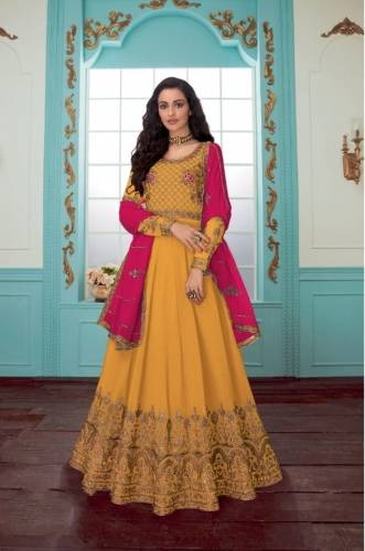 Amazing Mustard Georgette Chin Stitch Work Salwar Suit