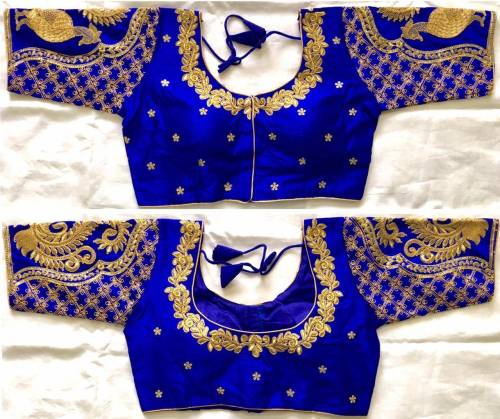 Appealing Royal Blue Sequence Coding Work Silk Readymade Blouse