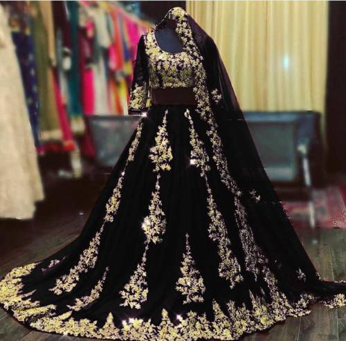 Beautiful Black Embroidered Work Georgette Lehenga Choli