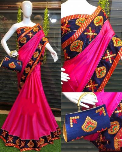 Classic Rani Silk With Embroidered Work Saree For Party Wear