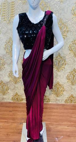 Brilliant Wine Japan Satin Saree With Sequin Work Blouse