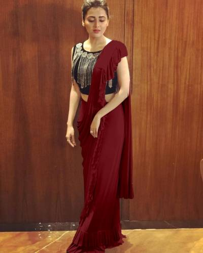 Party Wear Maroon Crepe Silk Ruffle Work Saree Blouse For Women