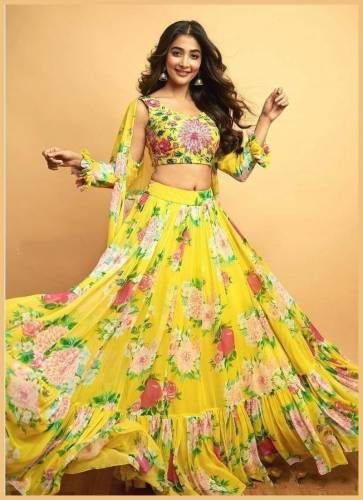Beautiful Yellow Georgette With Embroidered Work Lehenga Choli