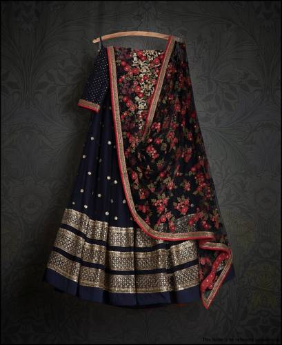 Incredible Navy Blue Georgette With Embroidered Work Lehenga Choli
