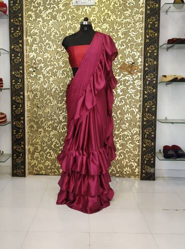 Renowned Raffle Style Maroon Color Satin Silk Plain Saree Blouse