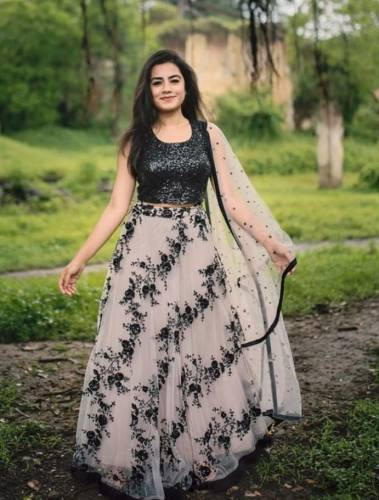Appealing Black Georgette Choli Net Embroidered Lehenga Design Online
