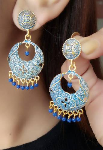 Stunning Blue Colour Gold Plated Artificial Earings KLP290