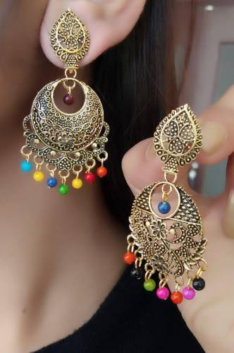 Party Wear Gold Plated Multi Colour Imitation Earings KLP291