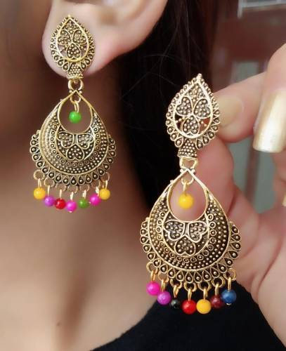Beautiful Multi Colour Imitation Gold Plated Earings KLP292