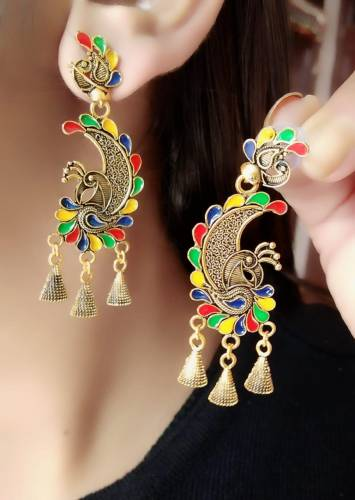 Beautiful Multi Colour Gold Plated Artificial Earings KLP298