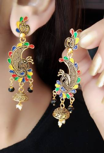 Outstanding Multi Colour Artificial Gold Plated Earings KLP300