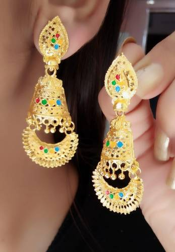 Classic Gold Plated Multi Colour Imitation Earings KLP302