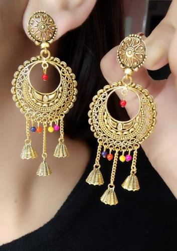 Marvellous Gold Plated Multi Colour Artificial Earings KLP305