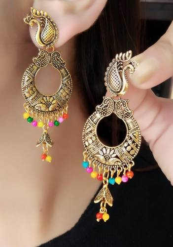 Party Wear Gold Plate Multi Colour Imitation Earings KLP306