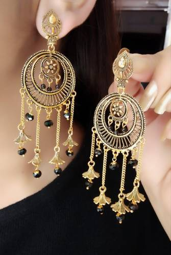 Party Wear Black Moti Gold Plated Imitation Earings KLP307