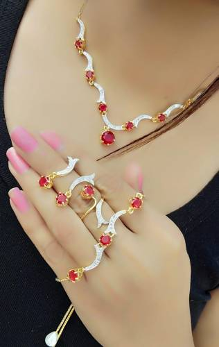 Marvellous Red Diamond Color Jewellery Set For Women
