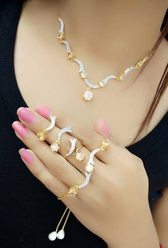 Miraculous Yellow Diamond Color Jewellery Set For Women