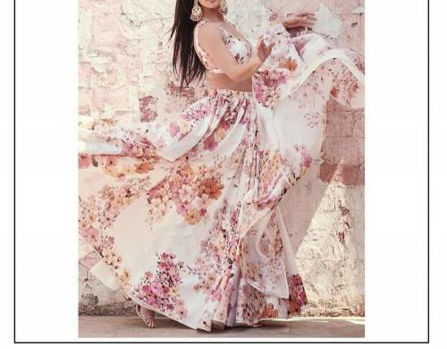 Alluring Off White Georgette Digital Printed Designer Lehenga Choli Online