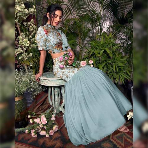 Amazing Sky Blue Georgette Satin Zari Embroidered Work Lehenga Choli Online