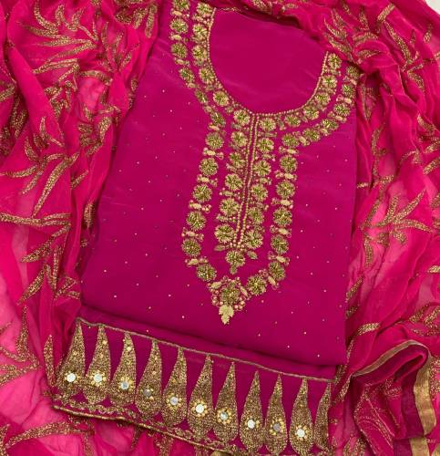 Astonishing Rani Color Georgette Diamond Embroidered Work Salwar Suit