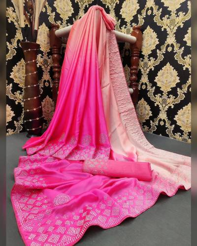 Stylish Pink Color Satin Silk Stone Diamond Work Saree Blouse For Women