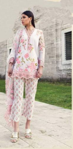 Dazzling White Color Printed Ceramic Embroidered Work Pent Style Salwar Suit