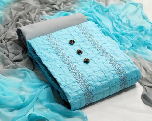 Adorable Sky Blue Color Cotton Embroidered Work Party Wear Salwar Suit