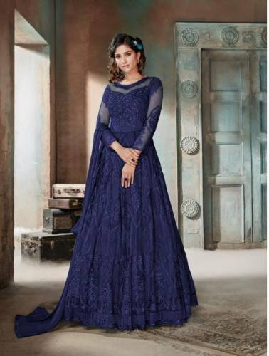 Intricate Navy Blue Color Heavy Net Embroidered Diamond Work Wedding Wear Salwar Suit