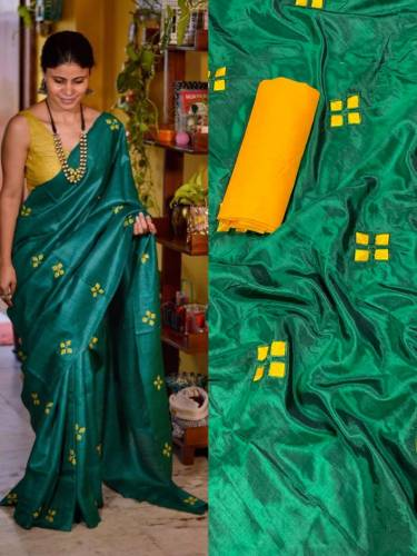 Magnetic Rama Green Color Sana Silk Embroidered Work Saree Blouse