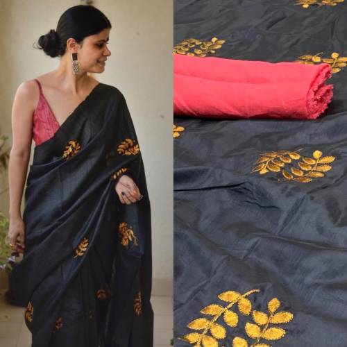 Capricious Black Color Sana Silk Embroidered Work Saree Blouse For Festive Wear