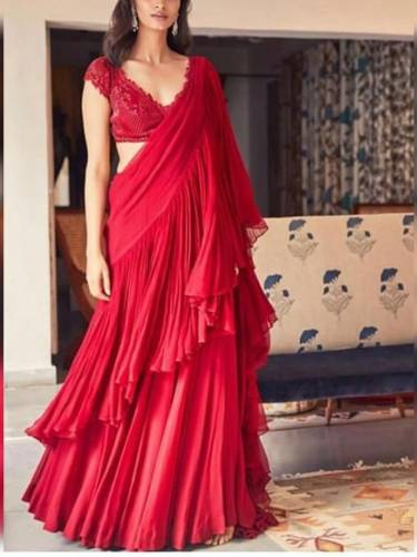 Breathtaking Red Color Georgette Ruffle Style Saree Blouse For Women